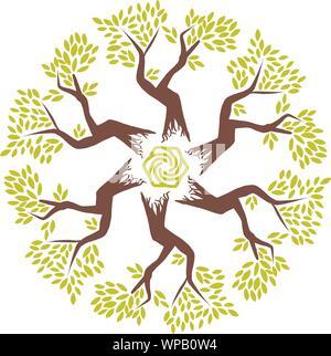 Fleur et feuille géométrique abstrait modèle logo. Emblème floral linéaire dans des tons pastel. Banque D'Images