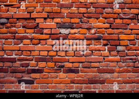 Mur de briques rouges vintage background. La surface de l'ancien bâtiment Banque D'Images