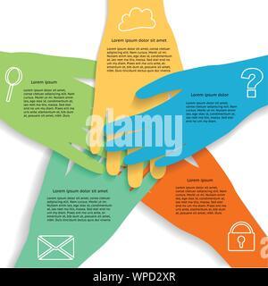 Infographie montrant les mains d'équipe d'affaires avec des icônes, regroupées et stratifiés Banque D'Images
