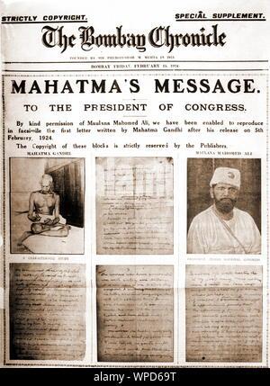 Bombay Chronicle, l'Inde, l'Asie, le 8 février 1924