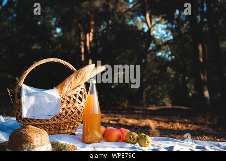 Pique-nique en plein air sur une forêt prairie. Un panier, bouteille de jus de fruits et à un déjeuner romantique, vintage à la libre Banque D'Images