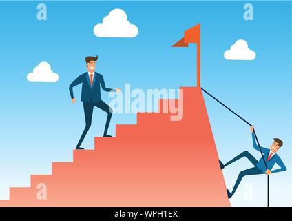 Comparer deux voies avec raccourci mais difficile et facile mais long chemin à parcourir vers le succès et l'objectif ,version cartoon,vector illustration Banque D'Images