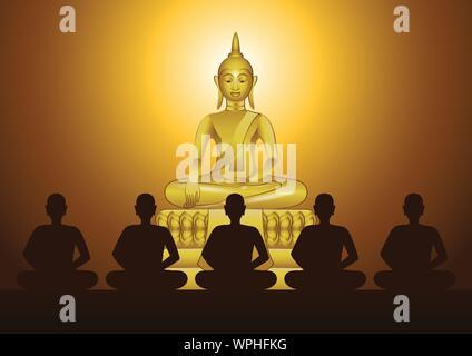 Méditation moine en face de sculpture de Bouddha pour former l'esprit et à être hors de souffrir dans l'église du temple avec foi,vector illustration Banque D'Images
