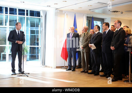 23.05.2011 Bruxelles, Belgique. Sur la photo: Donald Tusk, Jerzy Buzek, Herman Van Rompuy, José Manuel Barroso, Radoslaw Sikorski, Bogdan Klich Banque D'Images