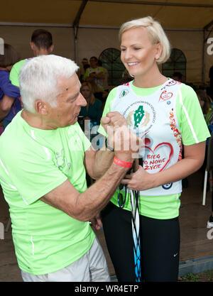 5.09.2015 Varsovie, Pologne. Sur la photo: Jerzy Buzek, Otylia Jedrzejczak Banque D'Images