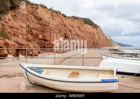 Plage de Sidmouth et falaises, la Côte Jurassique, Devon, Angleterre, Royaume-Uni. Banque D'Images
