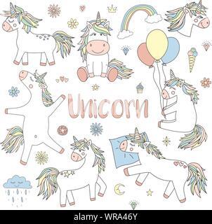 Carte De Vœux Mignon Avec Des Fleurs Et Des Licornes Fée