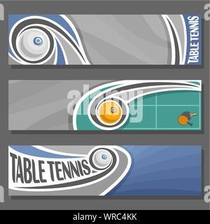 Les bannières horizontales vecteur pour Tennis de Table: 3 cartoon couvre de texte sur le thème du tennis de table, volant sur trajectoire balle de ping-pong sur fond gris. Banque D'Images