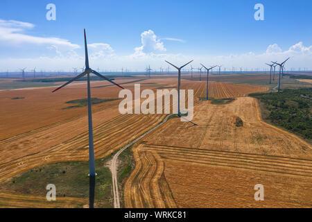 Champ éolien éoliennes et sur la ferme dans la campagne d'une journée ensoleillée Banque D'Images