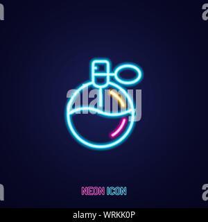 Contour néon lumineux simple parfum icône colorés sur fond bleu Banque D'Images