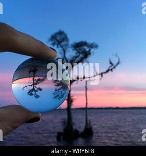 Portrait of Woman Holding Crystal Ball par Silhouette arbre sur un terrain contre Sky Banque D'Images