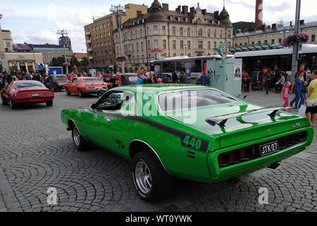 Tampere, Finlande - le 31 août 2019: l'écoute green Dodge Charger R/T à l'Mäntä Messut Mansen (Tampere juste en anglais) piston