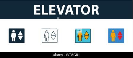 Ascenseur icon set. Quatre éléments dans diférents styles à partir de votre collection d'icônes. Creative ascenseur rempli d'icônes de couleur, contours, et télévision Banque D'Images