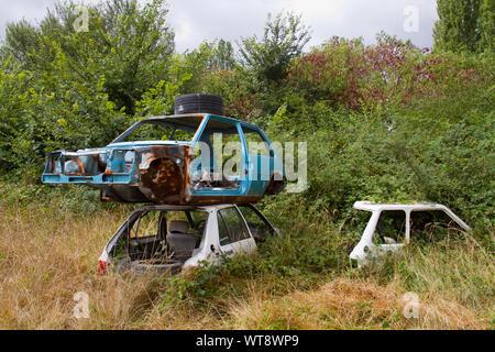 Vieux, rouillé et voitures démolies dans la nature sous-évaluées Banque D'Images