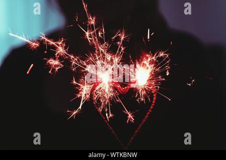 Close-up of heart shape Sparkler