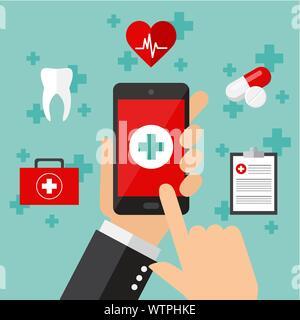 Service médical Mobile concept. Vector illustration