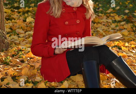 Portrait de la jeune femme assise sur la chute des feuilles dans le parc Banque D'Images