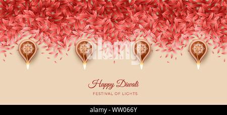 Rangoli transparente motif. Bordure décorative pour Diwali ou Pongal Festival faites à l'aide de pétales et lampes diya gravure Banque D'Images