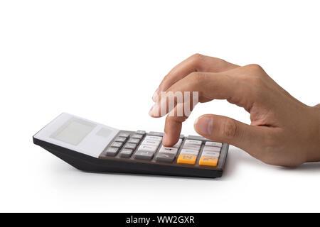 La main est d'appuyer sur la calculatrice, concept pour économiser de l'argent, d'affaires et de plus en plus riches. Banque D'Images
