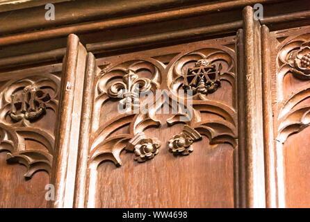 Seul liées lettres H et A, Monogrammes pour Henry VIII et son épouse Anne Boleyn. Panneau de bois dans la grande salle qu'il a construit pour elle. Banque D'Images