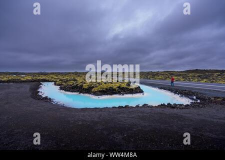 Beau paysage près de Blue Lagoon Hot spring en Islande Banque D'Images