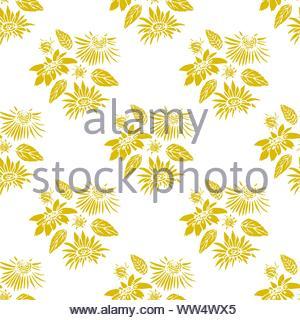 Fond transparent avec des éléments floraux stylisés d'or sur un fond blanc. Modèle sans couture décorative pour les cartes de vœux, décoration intérieur, Banque D'Images