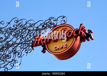 Hard Rock Cafe, le logo à une façade, Munich Banque D'Images