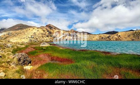 Lac Bleu dans le cratère du volcan avec l'herbe verte et rouge, Traversée de Tongariro en Nouvelle-Zélande Banque D'Images