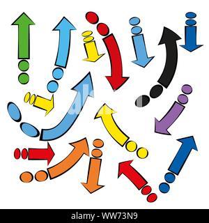 Collection flèches isolées. Jeu de flèches colorées abstraites de papier pour le design. Vecteur conception isolés. Résumé arrière-plan technique. Vecteur cible Objectif Banque D'Images