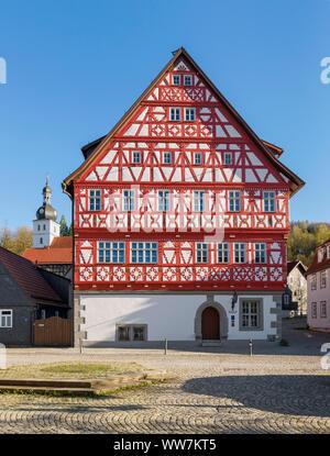 Allemagne, Thuringe, Suhl-Heinrichs, ancien hôtel de ville dans le Meininger Straße, socle à partir de 1551, de 1657 à ossature bois Banque D'Images