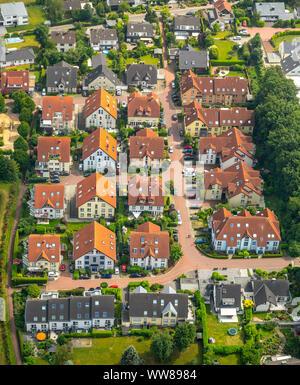 Vue aérienne, ensemble immobilier Uhlenkotten à côté de l'ancien centre du peuple à Niederwenigern Heidehof, Hattingen, Ruhr, Rhénanie du Nord-Westphalie, Allemagne Banque D'Images
