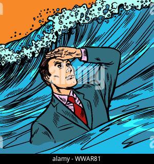 Gestionnaire de crise. Young leader recherche loin devant. Retro pop art dessin illustration vectorielle Banque D'Images