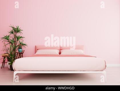 Maquette rose millénaire avec mur de lit rose fond intérieur moderne, d'une chambre, d'un style scandinave, large close-up, rendu 3D, 3D illustration