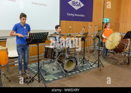 Lugano, Suisse - 13 mai 2019: concert donné par des jeunes à Montagnola sur Suisse Banque D'Images