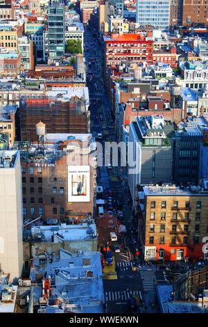 Vue aérienne de SoHo, Tribeca avec Abri international, East Village, West Village, et Midtown Manhattan dans la distance, le 6 août, 2019 à New York, USA. ( Banque D'Images