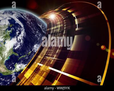 Montage du globe de la terre comme l'anneau de Saturne-technologiques sur le sujet des technologies modernes, la communication et le progrès. Une imagerie de la terre est une cour Banque D'Images