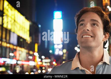 L'homme à Times Square Banque D'Images