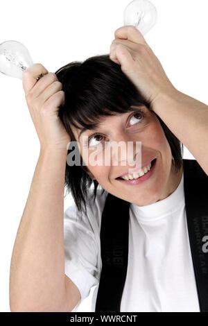 Femme avec ses méninges Banque D'Images