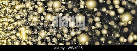 Flocons d'or tourbillonner sur un fond noir. Des chutes de neige dans la nuit. Nouvelle année, Noël. Banque D'Images