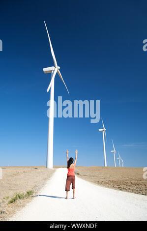 Femme et de l'énergie à Moulins le pays de facinas village de Cadix espagne Banque D'Images
