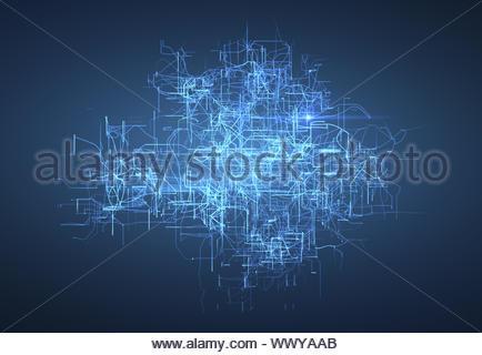 La connectivité numérique, l'intelligence artificielle et du concept de stockage des données. Carte de circuits électroniques lumineux, conducteurs et neuronal Banque D'Images