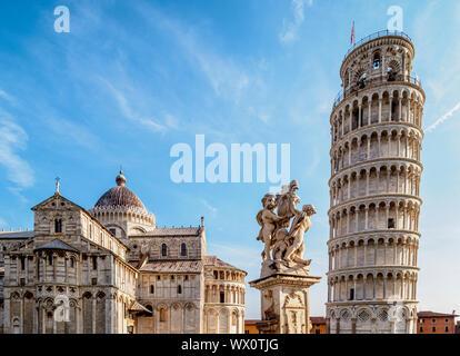 Cathédrale et de la Tour de Pise, la Piazza dei Miracoli, UNESCO World Heritage Site, Pise, Toscane, Italie, Europe Banque D'Images