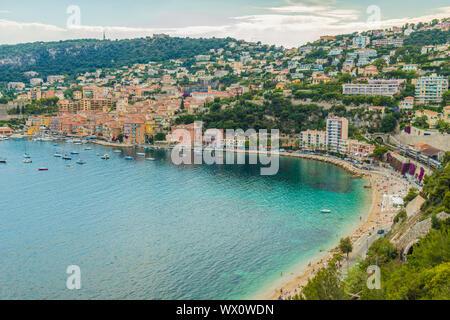 View sur Villefranche sur Mer, Alpes Maritimes, Provence Alpes Cote d'Azur, d'Azur, France, Europe, Méditerranée Banque D'Images