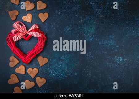 Valentine cookies avec forme de coeur Banque D'Images