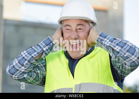 La construction souffre de la pollution sonore sur chantier Banque D'Images