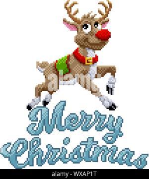 Noël Renne Santas Pixel Art Illustration Banque Dimages