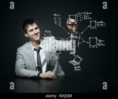 Businessman drawing a schéma de Cloud Computing Banque D'Images