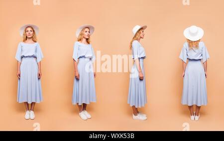 Photo Collage de différentes variations 3d d'un port de style dame Banque D'Images