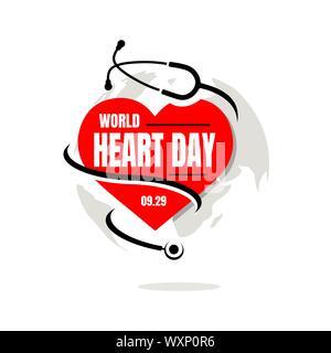 La Journée mondiale du coeur Vector illustration un arrière-plan avec l'image du stéthoscope, coeur et carte du monde Banque D'Images