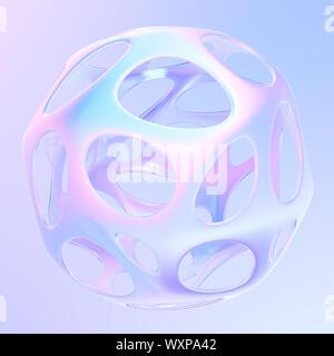Métallique géométrique rayonnante en forme 3D couleurs holographiques. Résumé de l'élément de conception graphique moderne pour les bannières et les affiches. Le rendu 3d. Banque D'Images